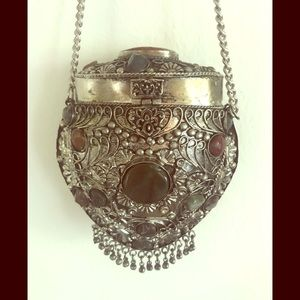 Handbags - Small metal and agate stone crossbody purse